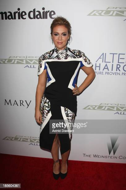 Actress Alyssa Milano attends the Project Runway All Stars Season 3 premiere party presented by The Weinstein Company and Lifetime in partnership...