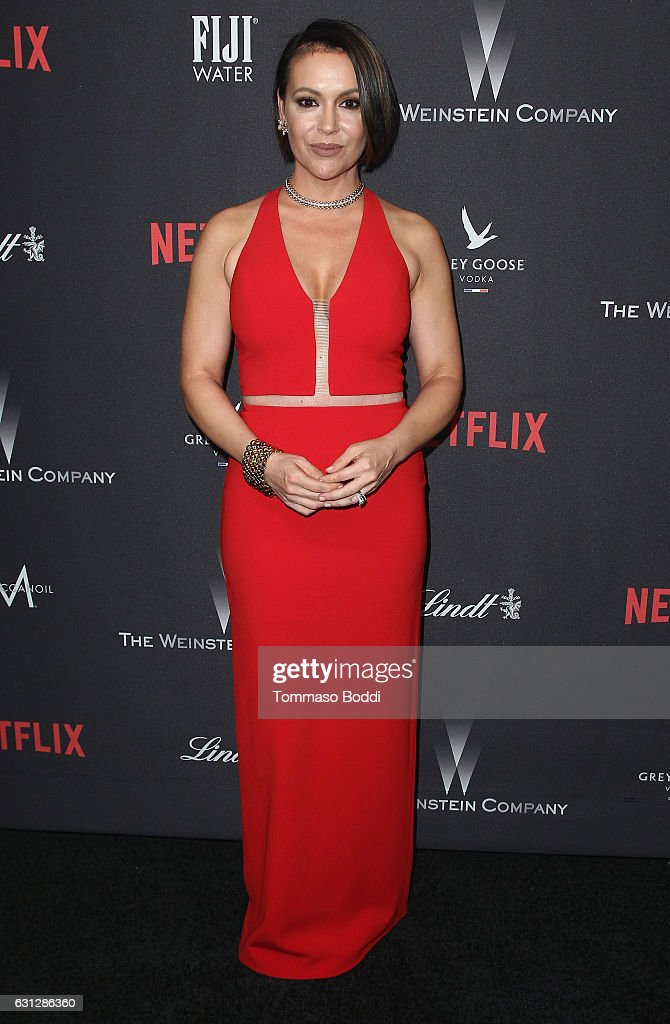 Actress Alyssa Milano attends The Weinstein Company and Netflix Golden Globe Party, presented with FIJI Water, Grey Goose Vodka, Lindt Chocolate, and Moroccanoil at The Beverly Hilton Hotel on January 8, 2017 in Beverly Hills, California.