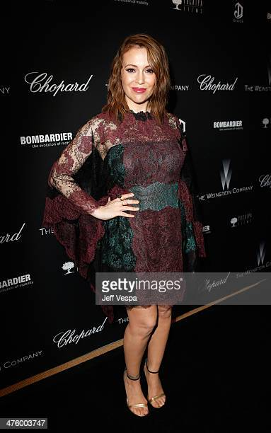 Actress Alyssa Milano attends The Weinstein Company's Academy Award party hosted by Chopard and DeLeon Tequila at Montage Beverly Hills on March 1...