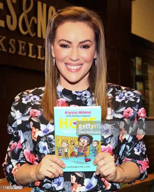 """Actress Alyssa Milano celebrates the release of her new book """"Project Middle School"""" at Barnes & Noble at The Grove on October 21, 2019 in Los..."""