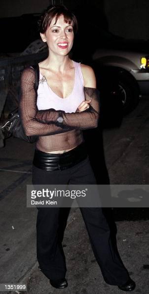 Actress Alyssa Milano Poses Outside The Latin Lounge On