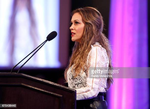 Actress Alyssa Milano speaks at the 2017 World Of Children Hero Awards at Montage Beverly Hills on April 19 2017 in Beverly Hills California