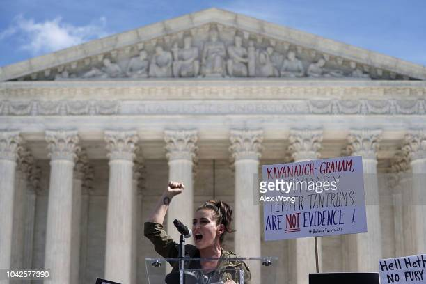 Actress Alyssa Milano speaks during a rally in front of the U.S. Supreme Court September 28, 2018 in Washington, DC. Activists staged a rally to call...