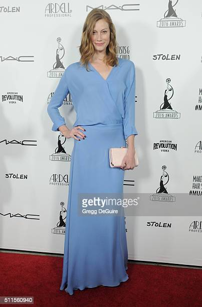 Actress Alyssa Sutherland arrives at the MakeUp Artists And Hair Stylists Guild Awards at Paramount Studios on February 20 2016 in Hollywood...