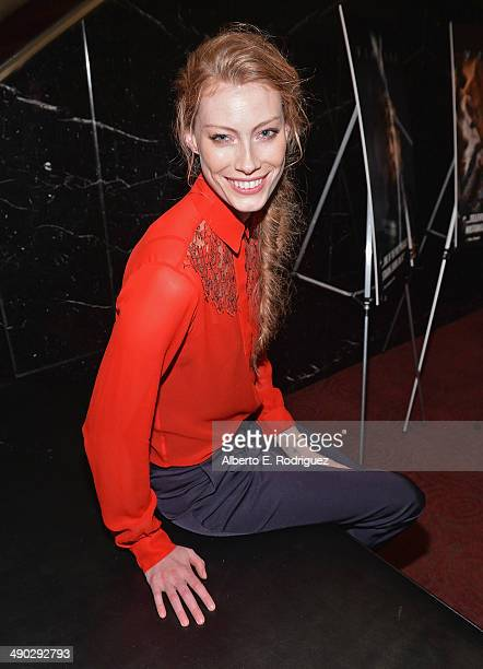Actress Alyssa Sutherland attends History Channel's 'Vikings' Panel Discussion and Reception at Leonard H Goldenson Theatre on May 13 2014 in North...