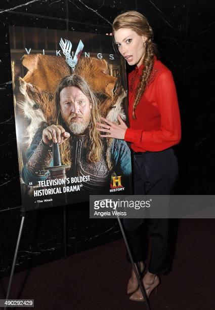 Actress Alyssa Sutherland attends History's 'Vikings' ATAS panel at Leonard Goldenson Theatre on May 13 2014 in Hollywood California