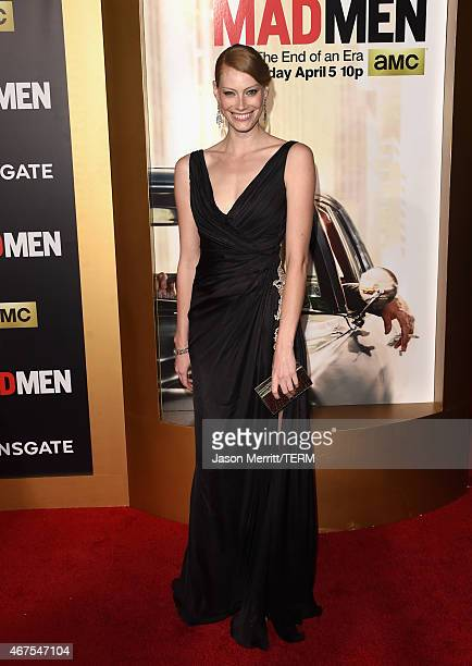 Actress Alyssa Sutherland attends the AMC celebration of the final 7 episodes of Mad Men with the Black Red Ball at the Dorothy Chandler Pavilion on...