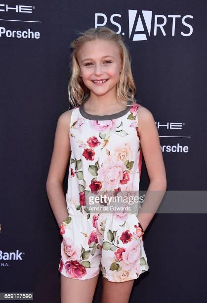 Actress Alyvia Alyn Lind arrives at PS ARTS' Express Yourself 2017 at Barker Hangar on October 8 2017 in Santa Monica California