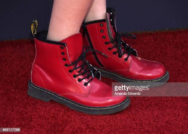 Actress Alyvia Alyn Lind shoe detail arrives at PS ARTS' Express Yourself 2017 at Barker Hangar on October 8 2017 in Santa Monica California