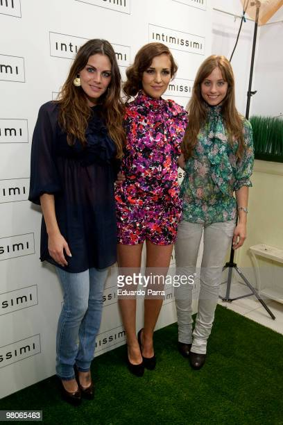 Actress Amaia Salamanca Paula Echevarria and Michelle Jenner attend new Intimisimi collection photocall at Intimisimi store on March 26 2010 in...