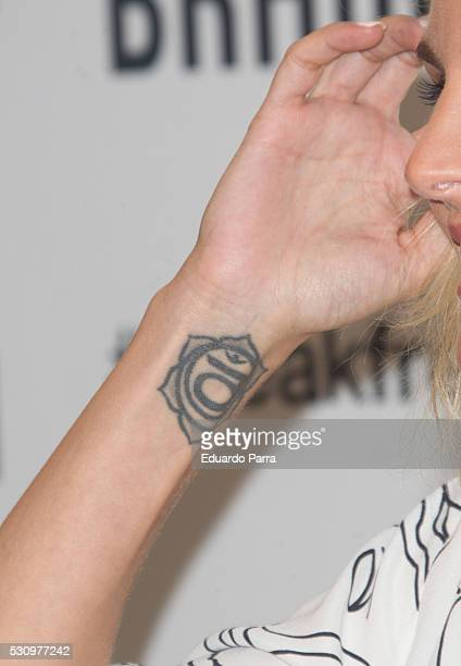 Actress Amaia Salamanca tattoo detail attends the Braun new products photocall at Las Letras hotel on May 12 2016 in Madrid Spain