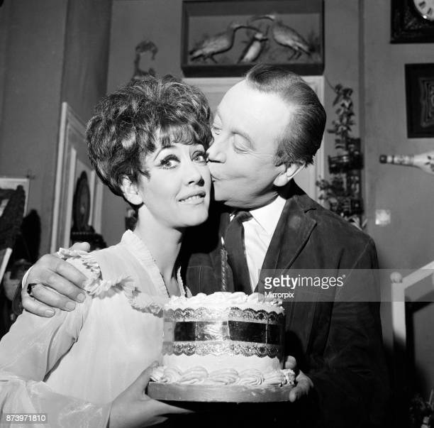 Actress Amanda Barrie who is in the comedy 'Any Wednesday' at the Apollo Theatre celebrates her 27th birthday Dennis Price who stars with her...