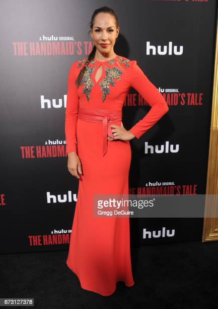 Actress Amanda Brugel arrives at the premiere of Hulu's 'The Handmaid's Tale' at ArcLight Cinemas Cinerama Dome on April 25 2017 in Hollywood...