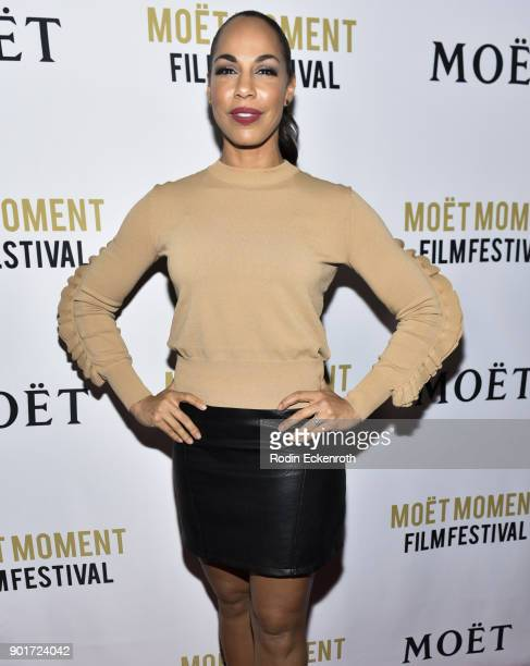 Actress Amanda Brugel attends Moet and Chandon Celebrates 3rd Annual Moet Moment Film Festival and kick off of Golden Globes Week at Poppy on January...