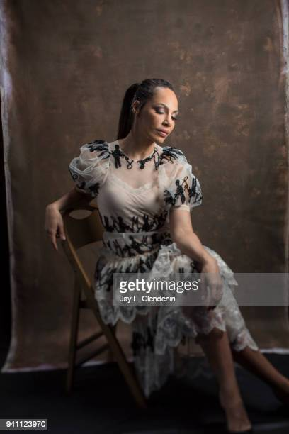 Actress Amanda Brugel of 'The Handmaid's Tale' is photographed for Los Angeles Times on March 17 2018 at the PaleyFest at the Dolby Theatre in...
