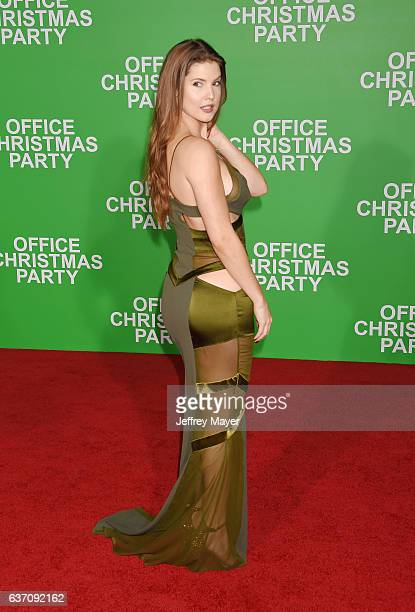 Actress Amanda Cerny arrives at the Premiere Of Paramount Pictures' 'Office Christmas Party' at Regency Village Theatre on December 7 2016 in...