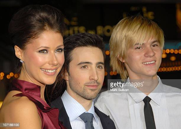 Actress Amanda Crew actor Josh Zuckerman and actor Mark L Young arrive at the Los Angeles premiere of 'Sex Drive' on October 15 2008 in Westwood...