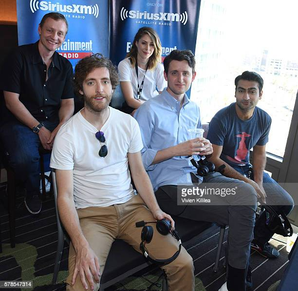 Actress Amanda Crew and actors Thomas Middleditch Zach Woods and Kumail Nanjiani attend SiriusXM's Entertainment Weekly Radio Channel Broadcasts From...