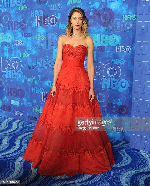 Actress Amanda Crew arrives at HBO's Post Emmy Awards Reception at The Plaza at the Pacific Design Center on September 18, 2016 in Los Angeles,...