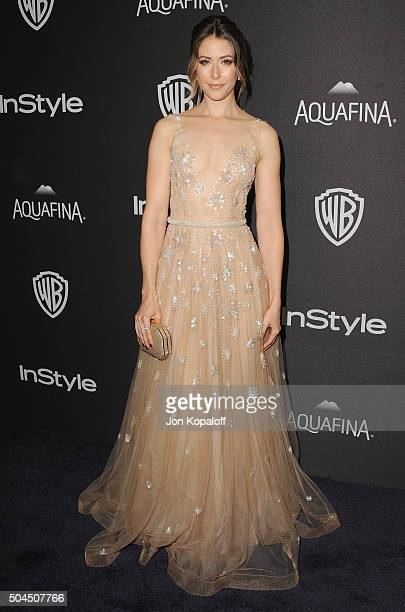 Actress Amanda Crew arrives at the 2016 InStyle And Warner Bros 73rd Annual Golden Globe Awards PostParty at The Beverly Hilton Hotel on January 10...
