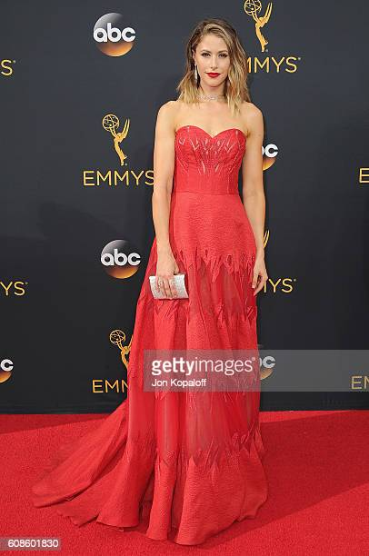 Actress Amanda Crew arrives at the 68th Annual Primetime Emmy Awards at Microsoft Theater on September 18 2016 in Los Angeles California