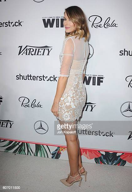 Actress Amanda Crew arrives at Variety And Women In Film's PreEmmy Celebration at Gracias Madre on September 16 2016 in West Hollywood California