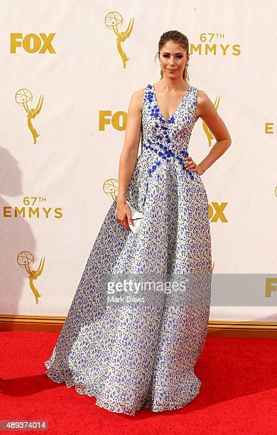 Actress Amanda Crew attends the 67th Annual Primetime Emmy Awards at Microsoft Theater on September 20 2015 in Los Angeles California