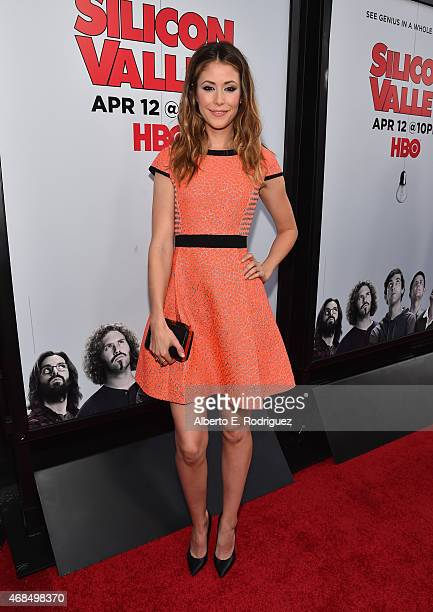 Actress Amanda Crew attends the premiere of HBO's 'Silicon Valley' 2nd Season at the El Capitan Theatre on April 2 2015 in Hollywood California