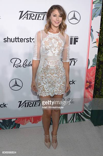 Actress Amanda Crew attends Variety and Women in Film's PreEmmy Celebration at Gracias Madre on September 16 2016 in West Hollywood California