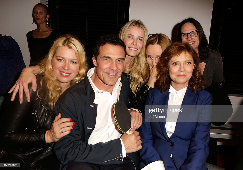 Actress Amanda De Cadenet, Andre Balazs, musician Melissa Etheridge, TV personality Chelsea Handler and actress Susan Sarandon attend SPiN Standard Ping Pong Social Club grand opening hosted by Susan Sarandon and Andre Balazs at The Standard, Downtown LA, on December 11, 2012 in Los Angeles, California.