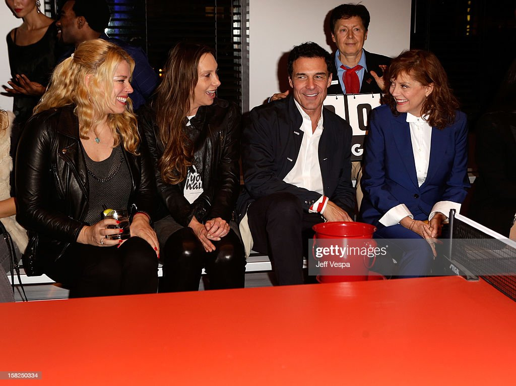 Actress Amanda De Cadenet, Jacqui Getty, Andre Balazs, professional ping pong player Bella Livshin and actress Susan Sarandon attend SPiN Standard Ping Pong Social Club grand opening hosted by Susan Sarandon and Andre Balazs at The Standard, Downtown LA, on December 11, 2012 in Los Angeles, California.