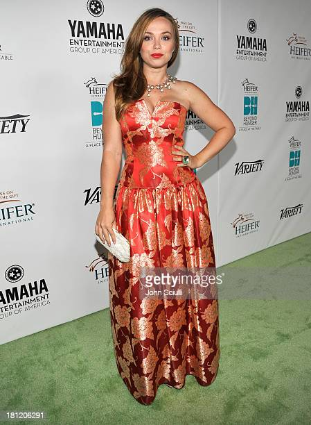 Actress Amanda Fuller attends Heifer International's 2nd Annual Beyond Hunger A Place at the Table to Help End World Hunger and Poverty at Montage...