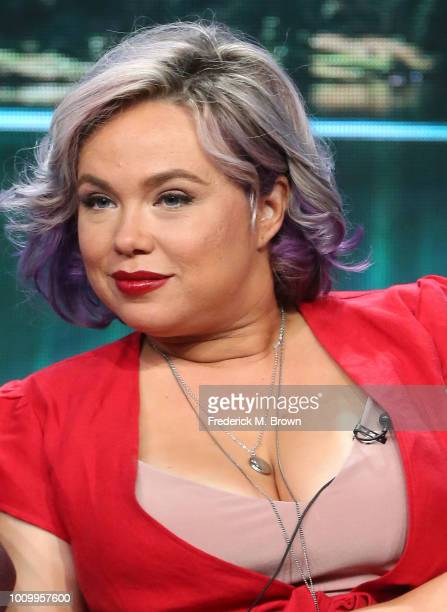 Actress Amanda Fuller of the television show 'Last Man Standing' speaks during the Summer 2018 Television Critics Association Press Tour at the...