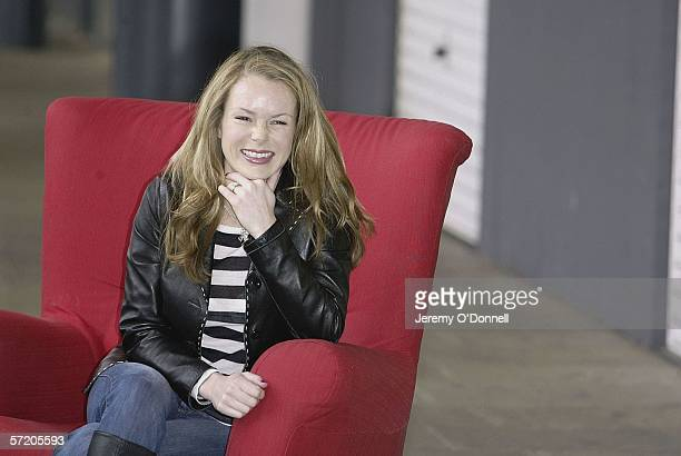 Actress Amanda Holden poses for photographers during Shelter's Red Chair Sitin photocall at the Oxo Tower Wharf on March 29 2006 in London England...