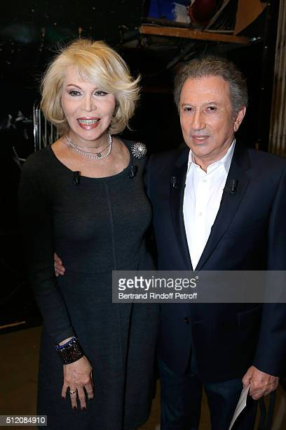 Actress Amanda Lear and Presenter of the Show Michel Drucker attend the 'Vivement Dimanche' French TV Show at Pavillon Gabriel on February 24 2016 in...