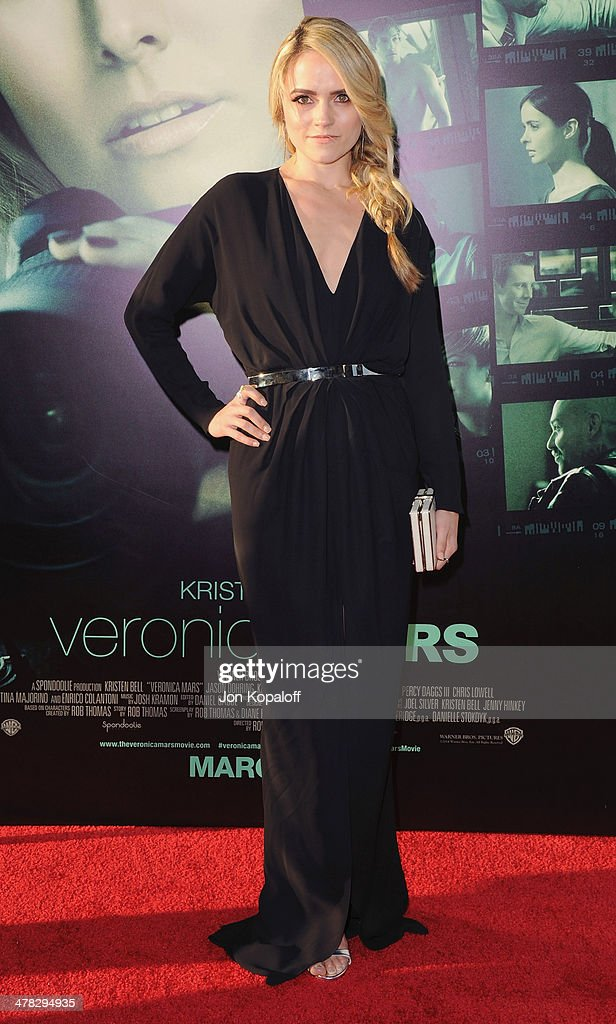 Actress Amanda Noret arrives at the Los Angeles premiere 'Veronica Mars' at TCL Chinese Theatre on March 12, 2014 in Hollywood, California.