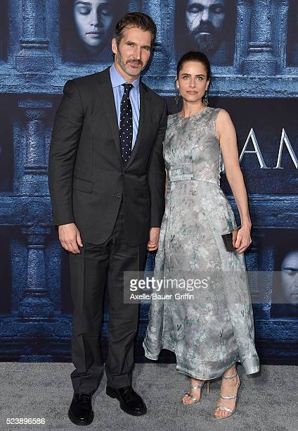 Actress Amanda Peet and David Benioff arrive at the premiere of HBO's 'Game Of Thrones' Season 6 at TCL Chinese Theatre on April 10 2016 in Hollywood...
