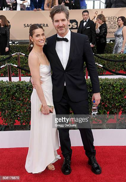 Actress Amanda Peet and husband David Benioff arrive at the 22nd Annual Screen Actors Guild Awards at The Shrine Auditorium on January 30 2016 in Los...