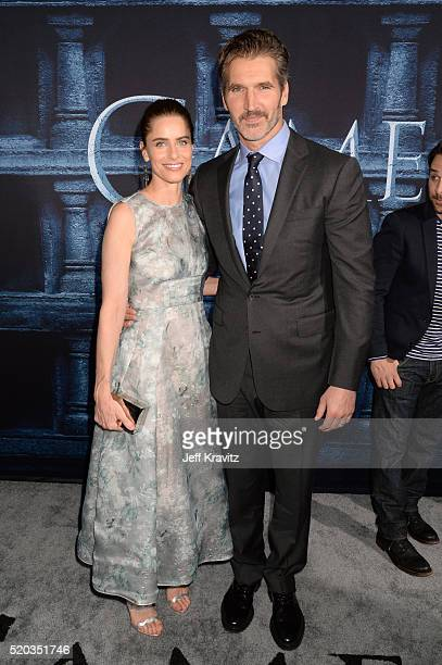 Actress Amanda Peet and novelist David Benioff attend the premiere for the sixth season of HBO's 'Game Of Thrones' at TCL Chinese Theatre on April 10...