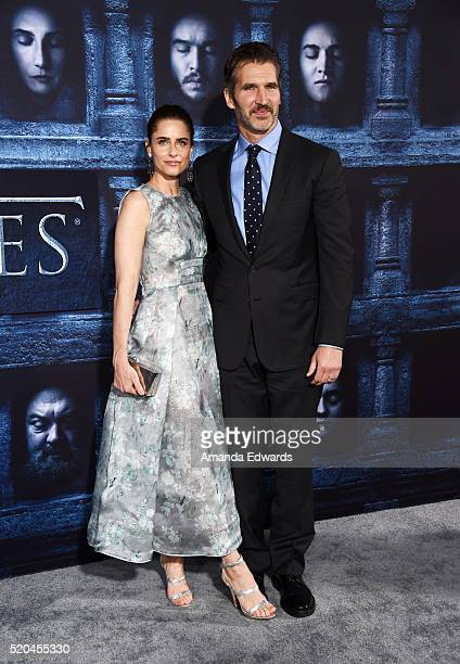 Actress Amanda Peet and writer David Benioff arrive at the premiere of HBO's 'Game Of Thrones' Season 6 at the TCL Chinese Theatre on April 10 2016...