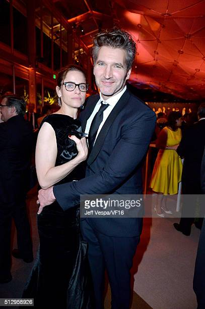 Actress Amanda Peet and writer/producer David Benioff attend the 2016 Vanity Fair Oscar Party Hosted By Graydon Carter at the Wallis Annenberg Center...