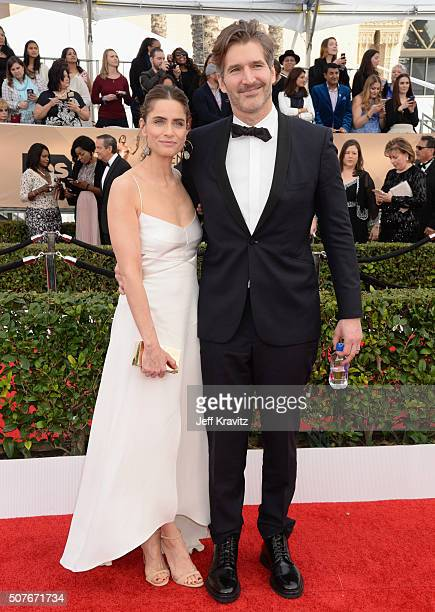 Actress Amanda Peet and writer/producer David Benioff attend the 22nd Annual Screen Actors Guild Awards at The Shrine Auditorium on January 30 2016...