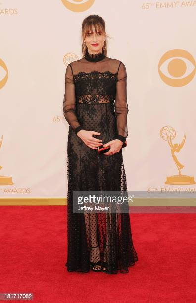 Actress Amanda Peet arrives at the 65th Annual Primetime Emmy Awards at Nokia Theatre LA Live on September 22 2013 in Los Angeles California