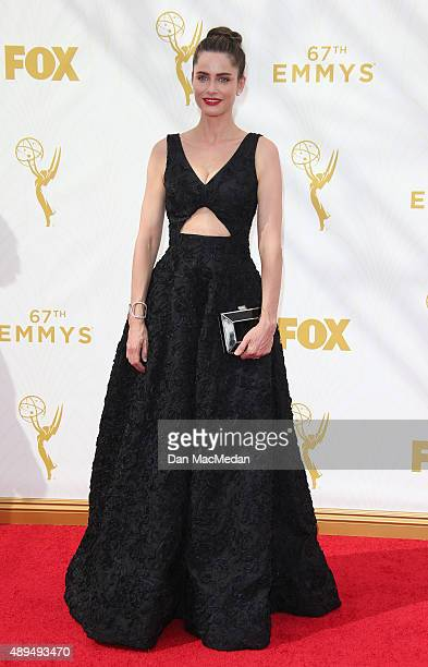 Actress Amanda Peet arrives at the 67th Annual Primetime Emmy Awards at the Microsoft Theater on September 20 2015 in Los Angeles California