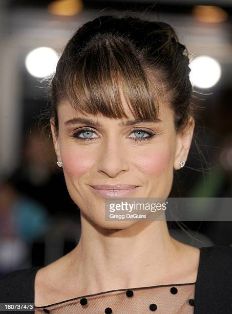 """Actress Amanda Peet arrives at the """"Identity Thief"""" Los Angeles premiere at Mann Village Theatre on February 4, 2013 in Westwood, California."""