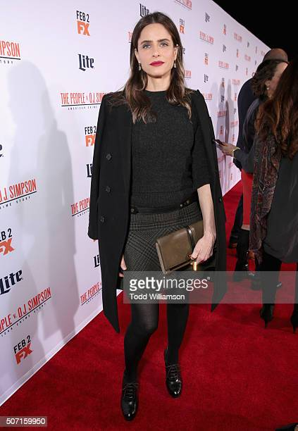 Actress Amanda Peet attends the premiere of FX's American Crime Story The People V OJ Simpson at Westwood Village Theatre on January 27 2016 in...