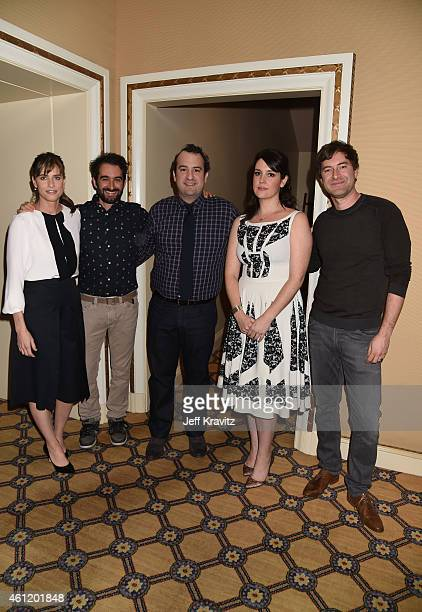 Actress Amanda Peet, Jay Duplass, writer/director, actor Steve Zississ, actress Melanie Lynskey and Mark Duplass, actor/writer/director, wait in the...