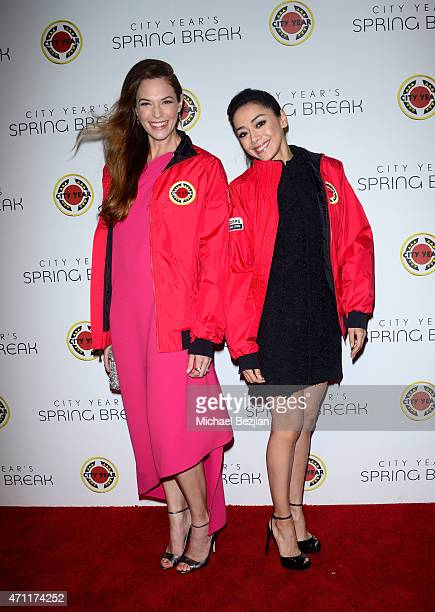 Actress Amanda Righetti and actress Aimee Garcia attends City Year Los Angeles Spring Break at Sony Studios on April 25 2015 in Los Angeles California