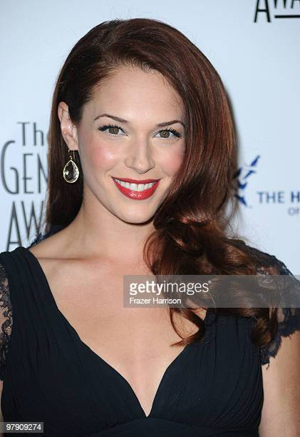 Actress Amanda Righetti arrives at the 24th Genesis Awards held at the Beverly Hilton Hotel on March 20 2010 in Beverly Hills California