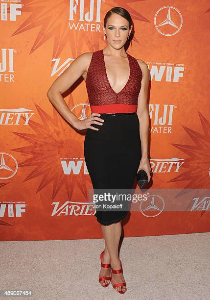 Actress Amanda Righetti arrives at the Variety And Women In Film Annual PreEmmy Celebration at Gracias Madre on September 18 2015 in West Hollywood...
